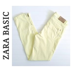 Zara Basic baby pastel yellow zipper pant